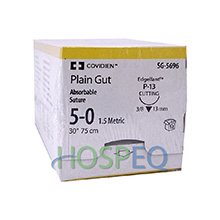 "Covidien Plain Gut Suture, Premium Reverse Cutting, Size 5-0, 30"", Needle P-13, 3/8 Circle. MFID: SG5696"
