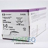 "Covidien POLYSORB Suture, Reverse Cutting, Size 3-0, Undyed, 30"", Needle C-13, 3/8 Circle. MFID: SL822G"