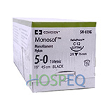 "Covidien MONOSOF Nylon Suture, Reverse Cut, Size 5-0, Black, 18"", Needle C-12, 3/8 Circle. MFID: SN659G"