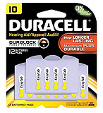 DURACELL Hearing Aid Battery, Zinc Air, Size 10, 12/pk, 6 pk/bx, 4 bx/cs. MFID: DA10B12RC