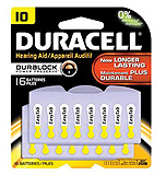 DURACELL Hearing Aid Battery, Zinc Air, Size 10, 16/pk, 6 pk/bx, 6 bx/cs. MFID: DA10B16