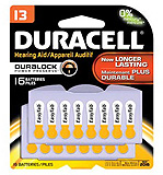 DURACELL Hearing Aid Battery, Zinc Air, Size 13, 16/pk, 6 pk/bx, 6 bx/cs. MFID: DA13B16