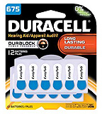 DURACELL Hearing Aid Battery, Zinc Air, Size 675, 12/pk, 2 pk/bx, 12 bx/cs. MFID: DA675B12RC