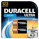 DURACELL Photo Battery, Lithium, Size DL123A, 3V, 2/pk, 6 pk/bx. MFID: DL123AB2PK