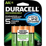 DURACELL Rechargeable Battery, NIMH, Size AA, 4/bx, 6 bx/cs. MFID: NL1500B4N001