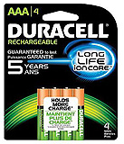 DURACELL Rechargeable Battery, NIMH, Size AAA, 6/pk, 4 pk/cs. MFID: NL2400B4N001
