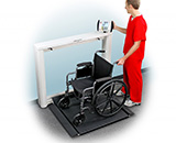 DETECTO Digital Wall-Mount Fold-Up / Fold-Down Wheelchair Scale, 1000 lb / 450 kg. MFID: 7550
