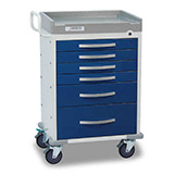 DETECTO RESCUE Anesthesiology Cart, White Frame, 6 BLUE Drawers, Keyed Lock. MFID: RC333369BLU