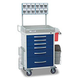 DETECTO RESCUE Anesthesiology Cart, White Frame, 6 BLUE Drawers, Loaded, Keyed Lock. MFID: RC333369BLU-L