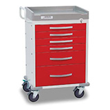 DETECTO RESCUE Emergency Room Cart, White Frame, 6 RED Drawers, Emergency Lock. MFID: RC333369RED