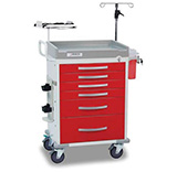 DETECTO RESCUE Emergency Room Cart, White Frame, 6 RED Drawers, Loaded, Keyed Lock. MFID: RC333369RED-L