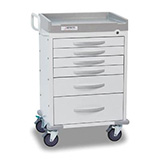 DETECTO RESCUE General Purpose Medical Cart, White Frame, 6 WHITE Drawers, Keyed Lock. MFID: RC333369WHT