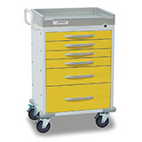 DETECTO RESCUE Isolation Medical Cart, White Frame, 6 YELLOW Drawers, Keyed Lock. MFID: RC333369YEL