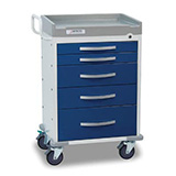 DETECTO RESCUE Anesthesiology Cart, White Frame, 5 BLUE Drawers, Keyed Lock. MFID: RC33669BLU