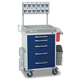 DETECTO RESCUE Anesthesiology Cart, White Frame, 5 BLUE Drawers, Loaded, Keyed Lock. MFID: RC33669BLU-L