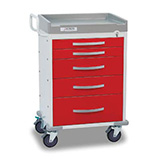 DETECTO RESCUE Emergency Room Cart, White Frame, 5 RED Drawers, Emergency Lock. MFID: RC33669RED
