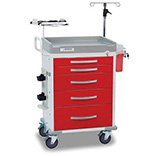 DETECTO RESCUE Emergency Room Cart, White Frame, 5 RED Drawers, Loaded, Emergency Lock. MFID: RC33669RED-L