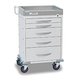 DETECTO RESCUE General Purpose Medical Cart, White Frame, 5 White Drawers, Keyed Lock. MFID: RC33669WHT