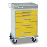 DETECTO RESCUE Isolation Medical Cart, White Frame, 5 YELLOW Drawers, Keyed Lock. MFID: RC33669YEL