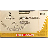 "ETHICON Suture, Surgical Stainless Steel, Reverse Cutting, LR / LR, 30"", Size 2. MFID: 467G"