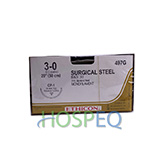"ETHICON Suture, Surgical Stainless Steel, Reverse Cutting, CP-1 / CP-1, 20"", Size 3-0. MFID: 497G"