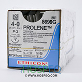 "Ethicon PROLENE Suture, Precision Point - Reverse Cutting, P-3, 18"", Size 4-0, 1 dozen. MFID: 8699G"