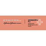 "ETHICON Suture, Dental, MONOCRYL Plus, Precision Cosmetic - Conventional Cutting PRIME, PC-3, 18"", Size 5-0. MFID: MCP844G"