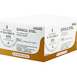 "ETHICON Suture, Surgical Stainless Steel, SUTUPAK Pre-Cut Sutures, 17-18"", Size 3-0. MFID: SS30G"