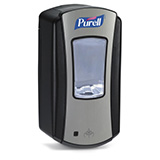 PURELL LTX-12 Dispenser, Touch-Free, for PURELL 1200mL Hand Sanitizer Refills, Chrome/Black. MFID: 1928-04