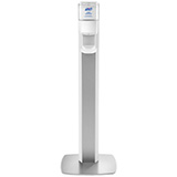 PURELL MESSENGER ES8 Silver Panel Floor Stand with Touch-Free Dispenser Stand for 1200mL Hand Sanitizer. MFID: 7308-DS-SLV