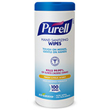 PURELL Hand Sanitizing Wipes, 100 Count Eco-Slim Canister. MFID: 9111-12