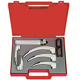 HEINE XP Emergency Laryngoscope Set with XP Disposable Blades: Miller 0, Miller 1, Mac 2, Mac 3, Mac 4, Fiber Optic SP handle, Case. MFID: F-257.10.815