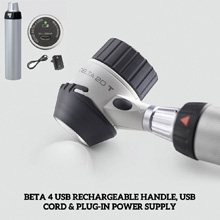 HEINE DELTA 20T Set: DELTA 20T Dermatoscope, BETA 4 USB Rechargeable Handle, Contact Plate, Oil, Case. MFID: K-262.28.388