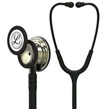 3M Littmann Classic III Stethoscope, Champagne Chestpiece, Black Tube, Smoke Stem & Headset. MFID: 5861