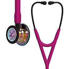 3M Littmann Cardiology IV Stethoscope, High Polish Rainbow-Finish, Raspberry Tube, Smoke Stem, Smoke Headset. MFID: 6241