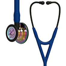 3M Littmann Cardiology IV Stethoscope, High Polish Rainbow Chestpiece, Navy Tube, Black Stem, Black Headset. MFID: 6242