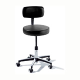 RITTER 275 Manual Screw Adjustable Physician Stool with back & Chrome Caster Base. MFID: 275-001