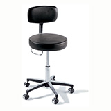 RITTER 277 Air-Lift Stool with Back, Hand Release & Chrome Caster Base. MFID: 277-001