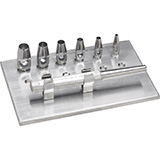 "MILTEX KEYES Dermal Punch Set, 3-1/4"" (83mm), Handle, 6 Punch Heads, Sizes 2, 3, 4, 5, 6, & 7 mm, and Rack. MFID: 33-30"