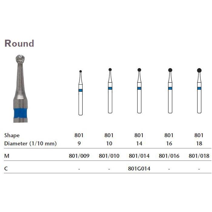 MILTEX Diamond Bur, Round (801), Diameter= 16, Medium Grit, Blue Band   MFID: 801/016