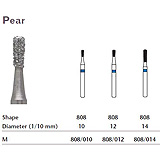 MILTEX Diamond Bur, Pear (808), Diameter= 12, Medium Grit, Blue Band. MFID: 808/012
