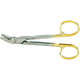 "MILTEX Wire Cutting Scissors, 4-3/4"" (12.1 cm), angled to side, one serrated blade, Carb-N-Sert inserts. MFID: 9-124TC"