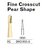 MILTEX Fine Crosscut Bur, Pear Shape, 1931, Friction Grip, 19 mm long. MFID: DFG1931-5