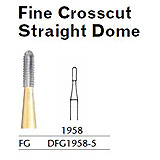 MILTEX Fine Crosscut Bur, Straight Dome, 1958, Friction Grip, 19 mm long. MFID: DFG1958-5