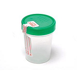 Pro Advantage Urine Specimen Container, Screw-On Lid & tamper evident label, 4 oz, Sterile. MFID: P250410