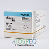 "Pro Advantage Black Silk Braided Suture, 4-0, 18"", Needle FS-2, 3/8 Reverse Cut 19mm. MFID: P420683"
