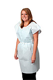"Pro Advantage Exam Gown, Tissue/ Poly/ Tissue, 30"" x 42"", Blue, Front/ Back Opening. MFID: P750033"
