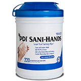 "PDI SANI-HANDS Instant Hand Sanitizing Wipes, Large, 6"" x 7-1/2"", 220/can, 6 can/cs. MFID: P15984"