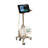 Schiller Sunken Base Rolling Stand with Basket and Rubber Case Adapter for Cardiovit FT-1 ECG. MFID: RS010-SBRS