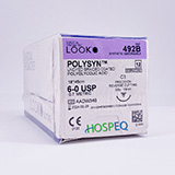 "LOOK 6-0 PolySyn Plastic Surgery Suture, Undyed Braided, 18""/45cm, C3, 13mm 3/8 Circle. MFID: 492B"